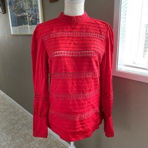 Halogen red long sleeve mock neck blouse, Sz M